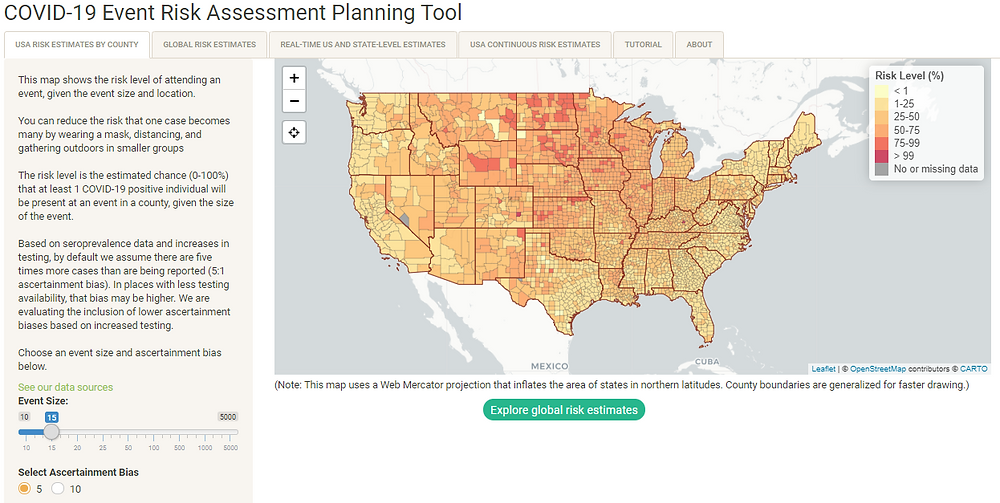 Image of an interactive map from https://covid19risk.biosci.gatech.edu/ where you can estimate risk of COVID-19 exposure based on event size and geography, for the United States.