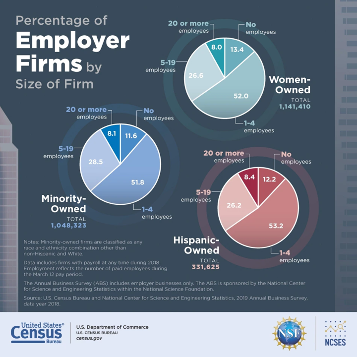 Pie charts where size of firm if represented for women, miniority and hispanic-owned businesses. More than half of these three types of employer firms employ between 1 and 4 people.