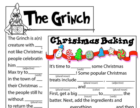 Two holiday Mad Libs activities, one about the Grinch and one about Christmas baking.