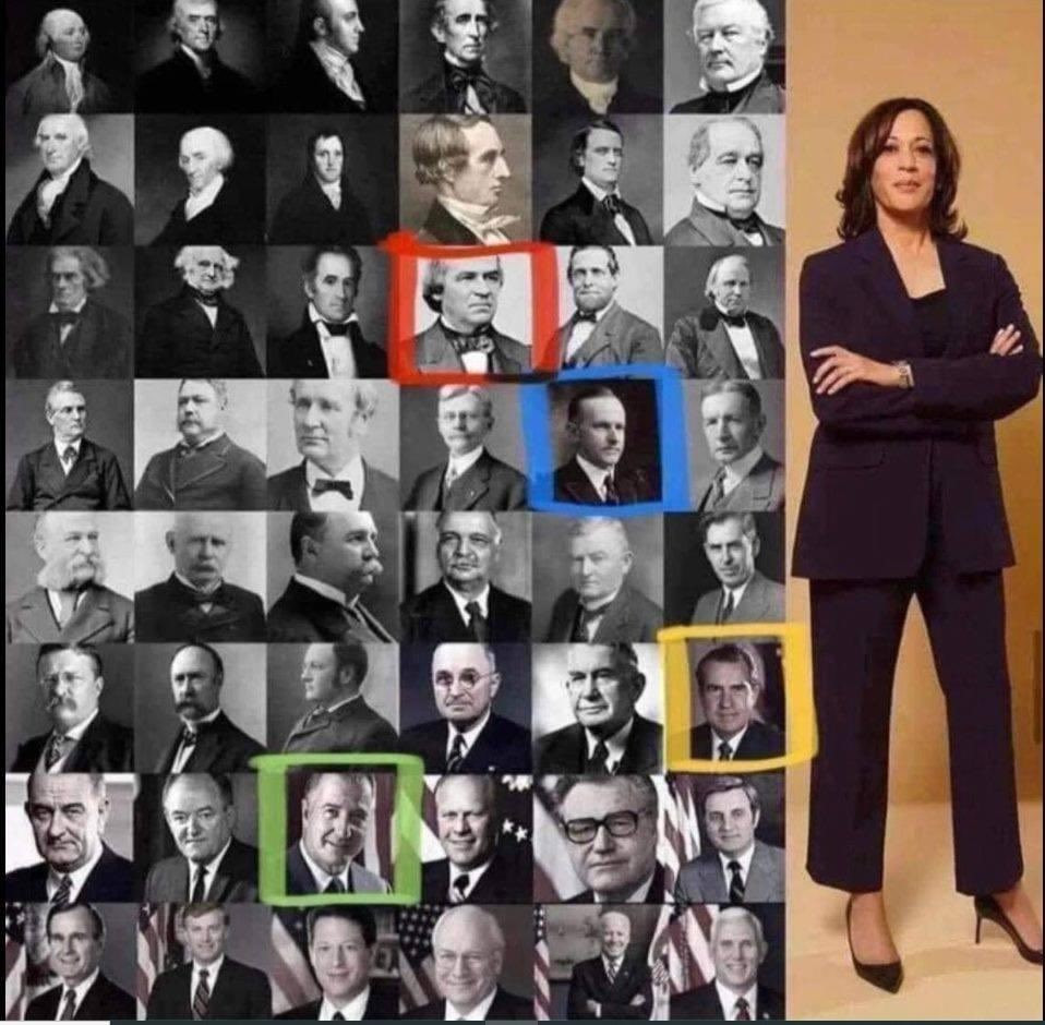 Pictures of all the former Vice Presidents of the United States next to Kamala Harris. Colored boxes around four previous Vice Presidents indicate when a race or gender barrier was broken in America.