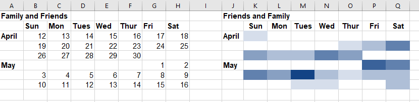 Calendar in Excel with a parallel color-coded heat map table.