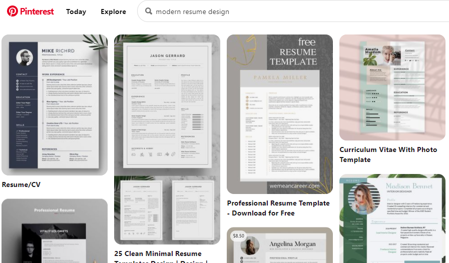 Screenshot of a Pinterest search showing several modern resume templates, with good use of white space, color, and visuals.
