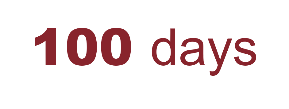 An image that reads 100 days.