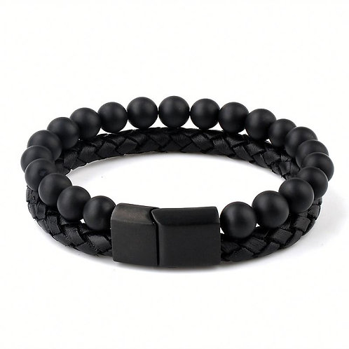 LEATHER BEADS BLACK