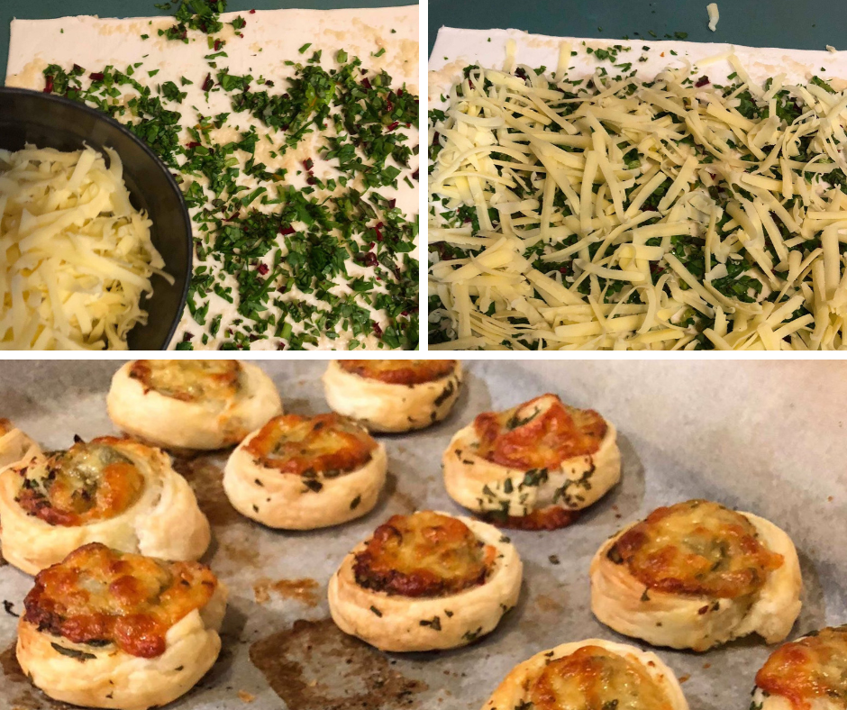 These scrolls are terrific for lunchboxes or after school snack. You can add pretty much anything you like.  We (of course), love fresh herbs and with lots of cheese!