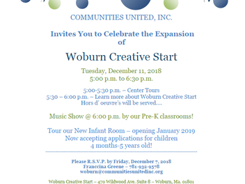 Expansion of Woburn Creative Start