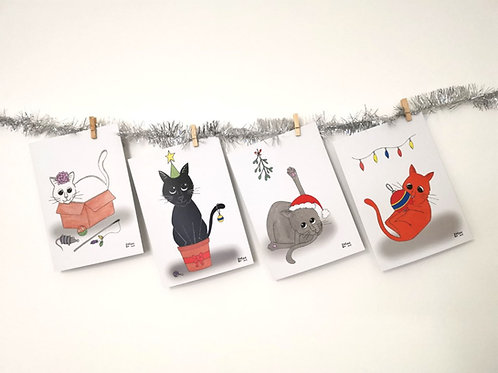 Christmas cards- cat illustrations
