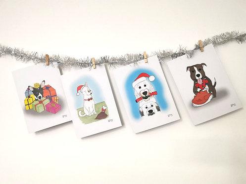 Christmas cards- dog illustrations