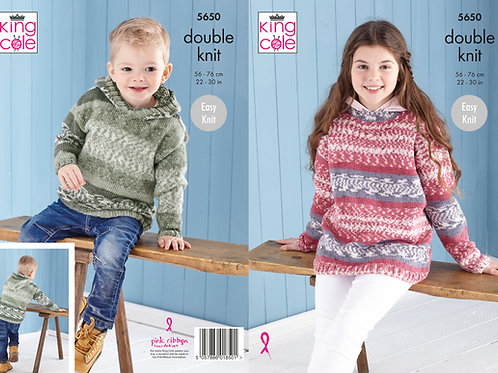 King Cole 5650 DK Sweater and Hoodie  56cm/22in - 76cm/30in