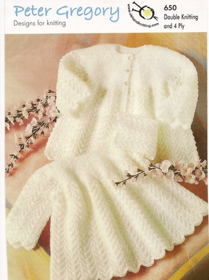 Peter Gregory 650 Baby Dress and Coat  DK & 4 Ply 41-51cm 16-20in