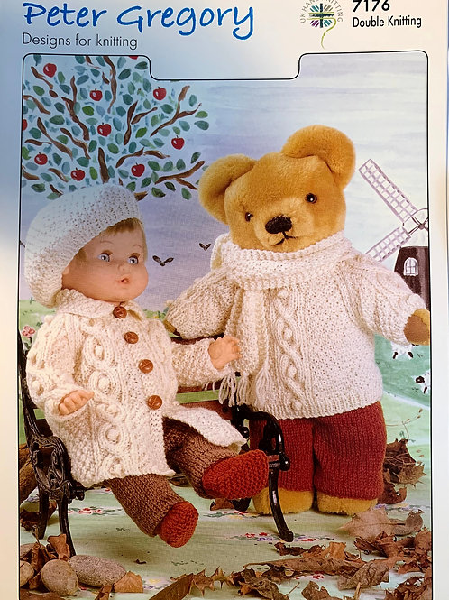 Peter Gregory 7176 Doll and Teddy Outfits DK 31-36/48-56cm 12-14in/19-22in