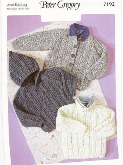 Peter Gregory 7192 Children's Sweater & Jacket  Aran 50-75cm 20-30in