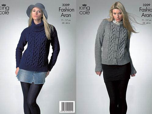 King Cole 3209 Aran Sweater and Cardigan  71-117cm/28-46in