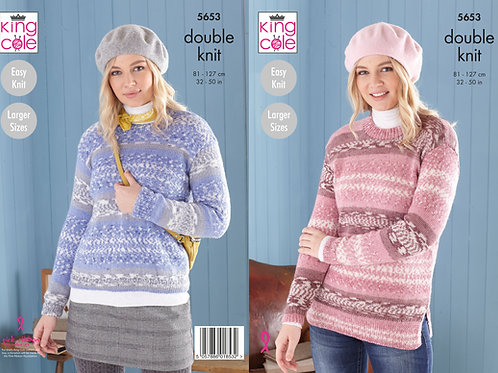King Cole 5653 DK Sweater and Tunic  81cm/32in - 127cm/50in