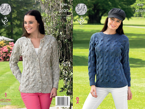 King Cole 4346 Aran Sweater and Cardigan 81cm/32in - 112cm/44in