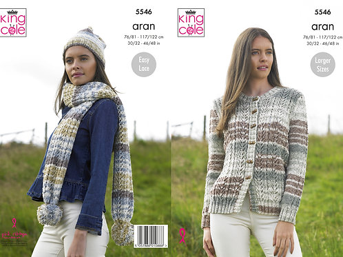 King Cole 5546 Aran Cardigan, Scarf and Hat 76cm/30in - 122cm/48in