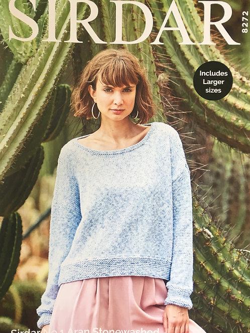 Sirdar 8272 Sweater No 1 Stonewashed Aran 81/86-132/137cm  32/34-52/54in