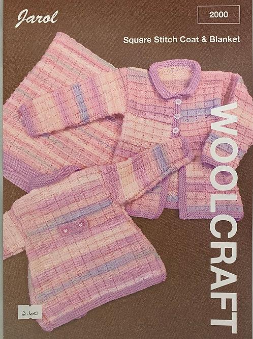Jarol 2000 Square Stitch Coat and Blanket  DK 41-56cm/16-22in