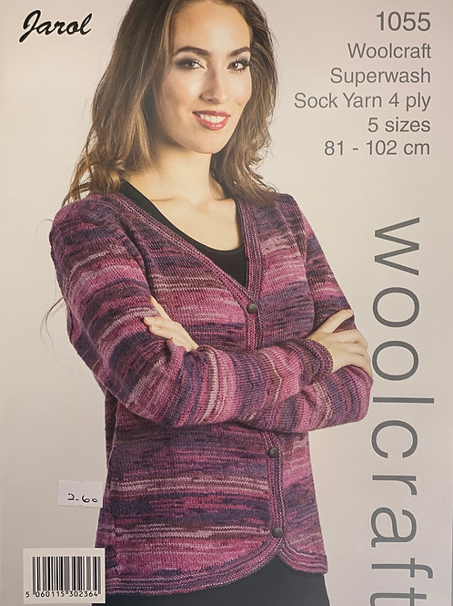 Woolcraft 1055 Curved Edge Cardigan 4 Ply 81/102cm 32/40in