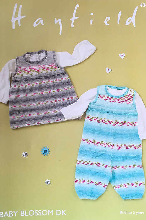 Hayfield 4844 Dungarees and Pinafore in Baby Blossom DK 41-51cm 16-20in