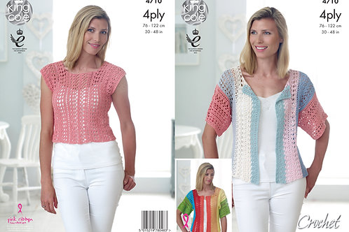 King Cole 4710 4 Ply Crochet Top and Cardigan 76cm/30in - 122cm/48in