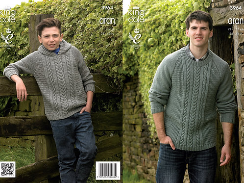 King Cole 3964 Aran Cabled Sweater and Hoodie 71cm/28in - 117cm/46in