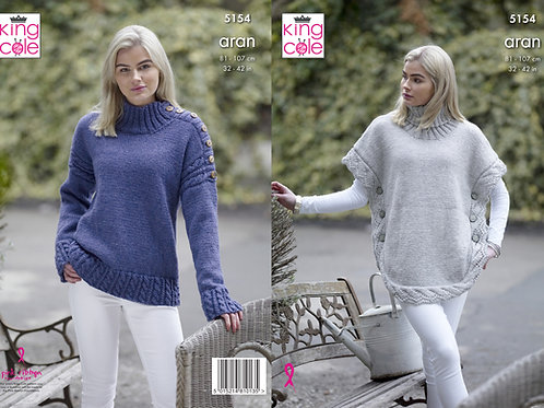 King Cole 5154 Aran Poncho and Sweater 81cm/32in - 107cm/42in