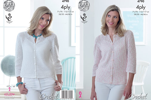 King Cole 4790 4 Ply Lady Crochet Cardigan 71cm/28in - 117cm/46in