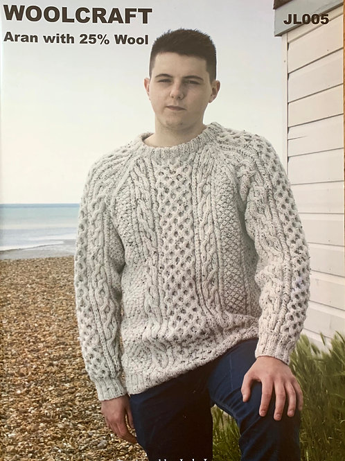 Woolcraft JL005 Aran Sweater 91cm/36in - 112cm/44in