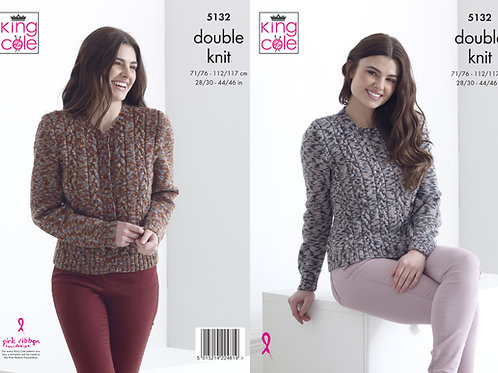 King Cole 5132 DK Cabled Sweater and Cardigan  71cm/28in - 117cm/46in