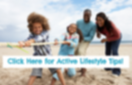 Family plays tug of war on the beach. We have tips on how to stay active together!