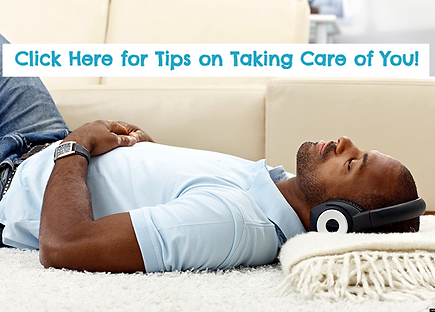 Man lying down listening to music and relaxing. We have tips on ways to take care of you!