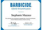 COVID-19 Training Barbicide Certificate.