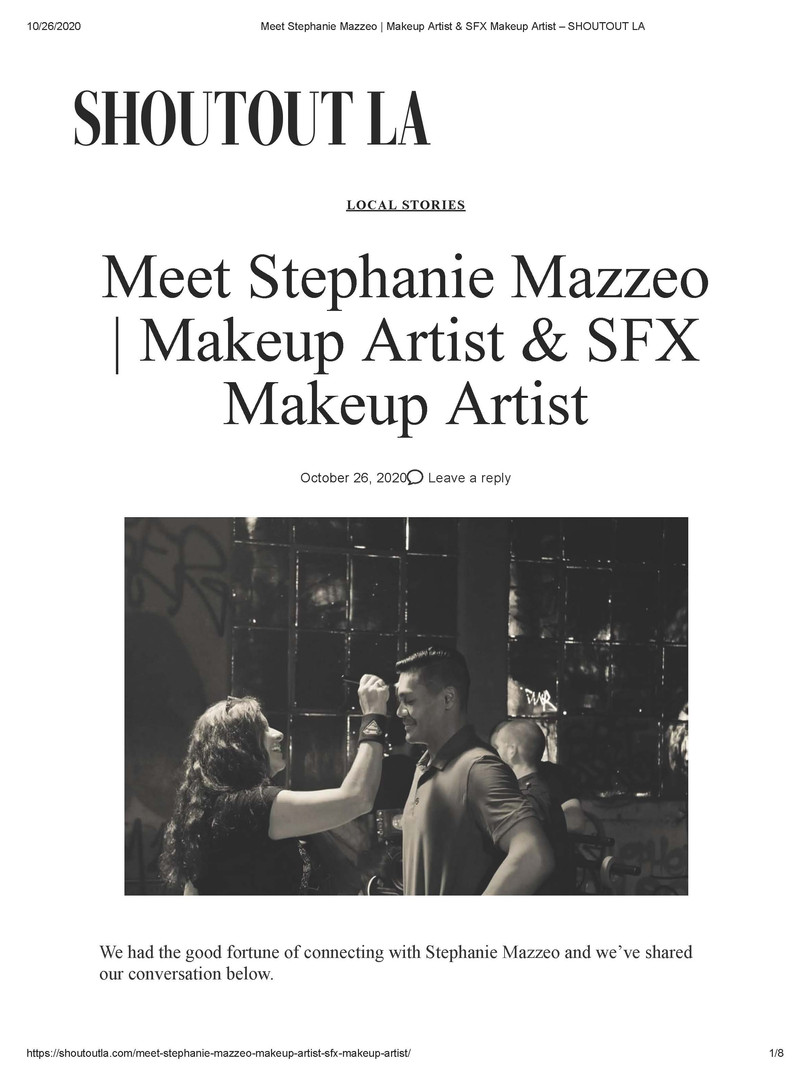 Meet Stephanie Mazzeo - Makeup Artist & SFX Makeup Artist - SHOUTOUT LA (page 1)