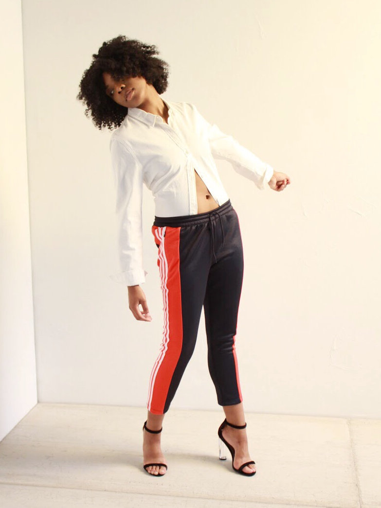 adidas navy and red track pant