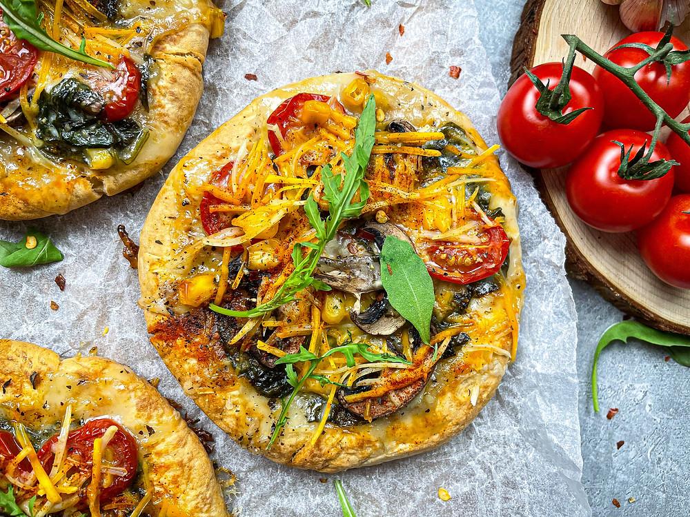 Vegan Mini Flatbread Pizzas