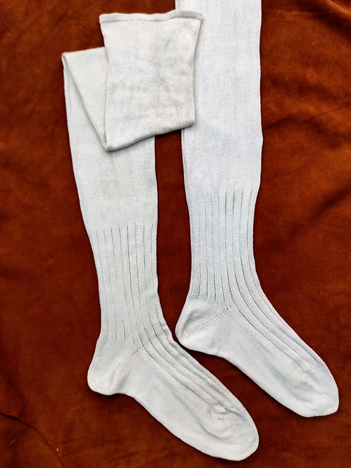 Ankle-ribbed Heavy Silk Stockings