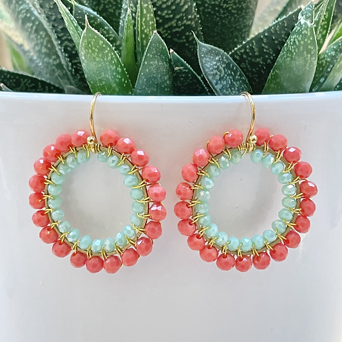 Coral & Pale Mint Double Beaded Round Earrings