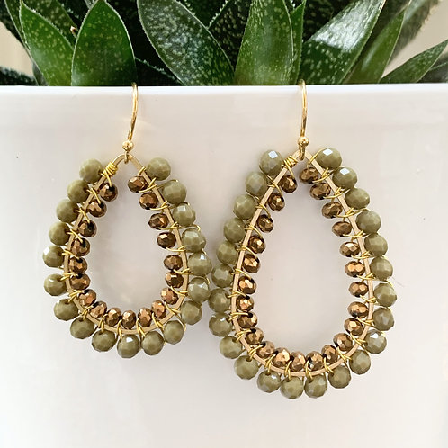 Khaki & Bronze Double Beaded Teardrop Earrings