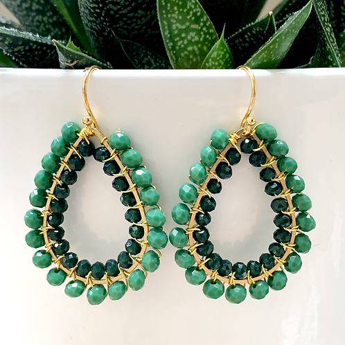 Evergreen & Emerald Green Double Beaded Teardrop Earrings