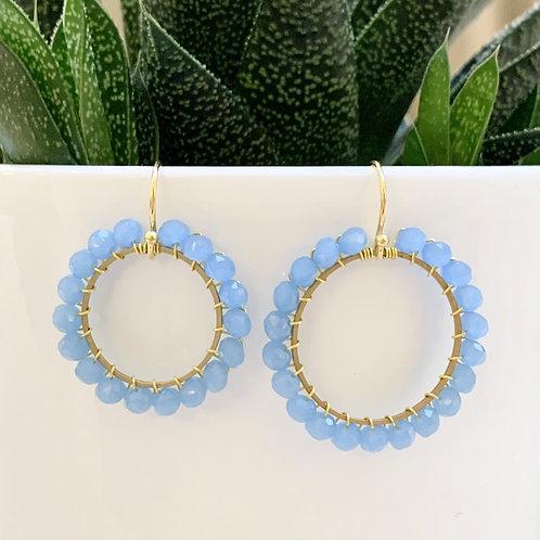 Powder Blue Round Beaded Earrings