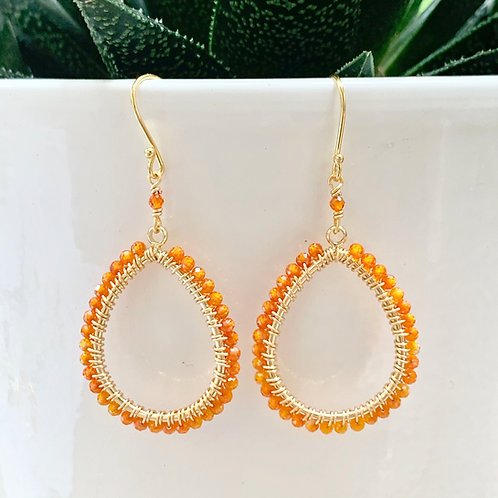 Orange Crystal Peardrop Beaded Earrings
