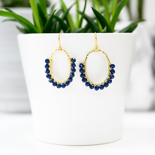 Oxford Blue 3/4 Oval Earrings