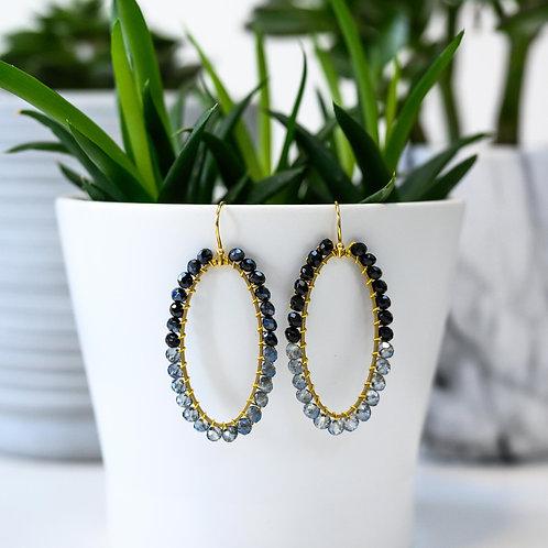 Black & Translucent Oval Beaded Earrings