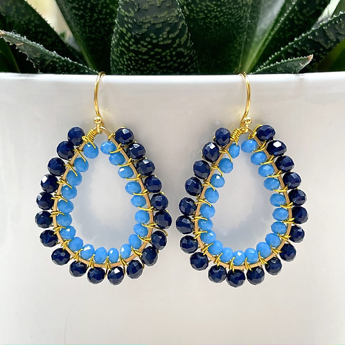 Midnight Blue & Sky Blue Double Beaded Teardrop Earrings