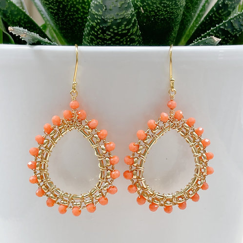 Coral Medium Rolo Peardrop Beaded Earrings