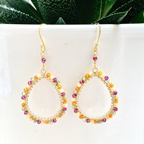 Pink, Orange, Yellow & Green Ombré Peardrop Beaded Earrings