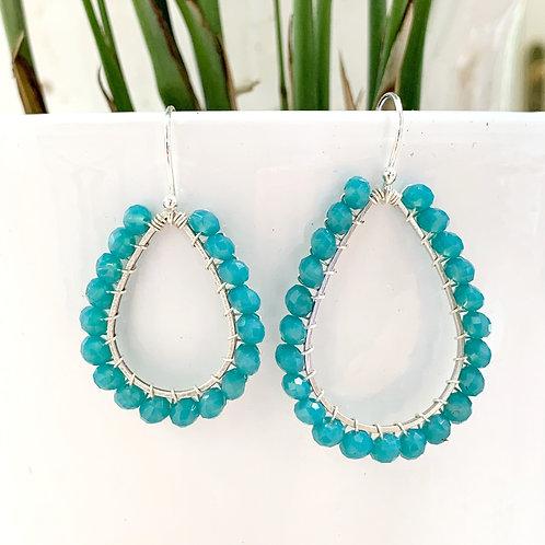 Aqua Blue Beaded Teardrop Earrings (Silver)
