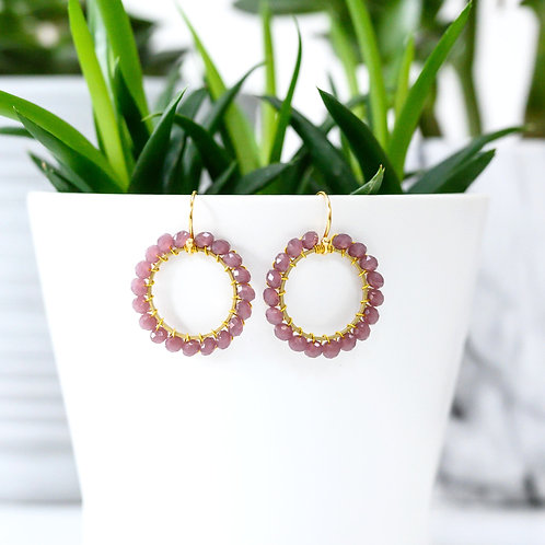 Dusky Pink Round Beaded Earrings