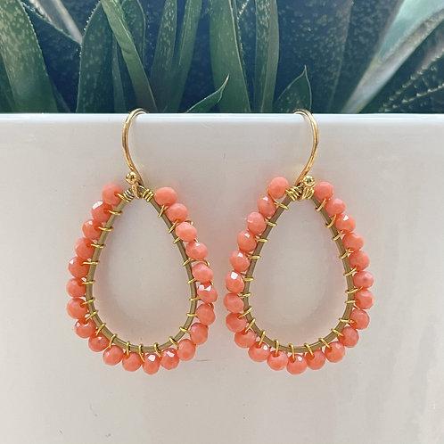 Coral Teardrop Beaded Earrings (Small Bead)